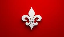 Mardi Gras Fleur-de-Lis In Red Background. 3D Render Illustration