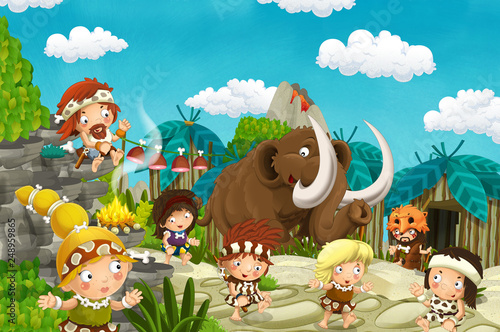 Poster de jardin Zoo cartoon caveman village scene with mammoth and volcano in the background - stone age - illustration for children