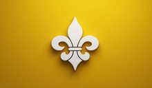 Mardi Gras Fleur-de-Lis In Yellow Background. 3D Render Illustration