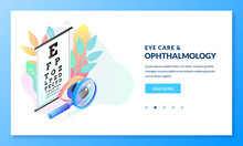 Ophthalmology Diagnostics And Eye Test Concept. Vector Isometric Gradient Illustration. Landing Page Banner Design