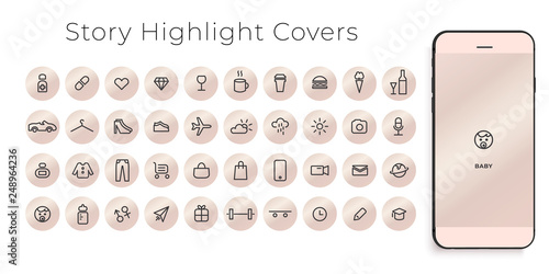 Fotografia  Instagram Highlights Stories Covers line Icons