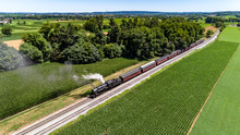 Steam Passenger Train Puffing Smoke In Amish Countryside 30