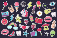 Big Set Of Stickers, Patches, Badges In Cartoon Comic Style Of 80s-90s. Vector Illustration.