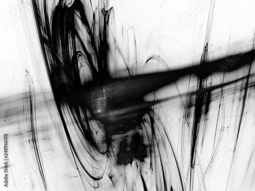Fotografie, Obraz  Black and White Liquid Paint Splatter, Organic Swirling Cloud of Liquid - fluid X-Ray, organic matter, viscous plasma, dark matter, swirling cloud of black oil