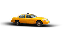 Yellow Cab Isolated On White Background.