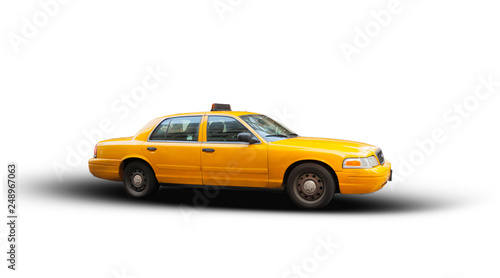 Fényképezés Yellow cab isolated on white background.