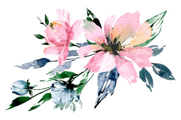Fototapeta Egzotyczne Flowers watercolor painting, pink bouquet for greeting card, invitation, poster, wedding decoration and other printing images. Illustration isolated on white.