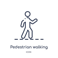 Pedestrian Walking Icon From Sports Outline Collection. Thin Line Pedestrian Walking Icon Isolated On White Background.