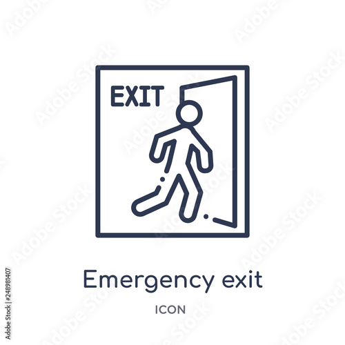 emergency exit icon from signs outline collection. Thin line emergency exit icon isolated on white background. Wall mural