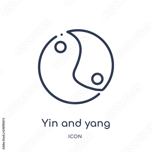 Fotografie, Obraz  yin and yang icon from shapes and symbols outline collection