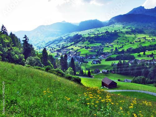 Foto op Plexiglas Groene Thur River valley in the Toggenburg region - Canton St. Gallen, Switzerland