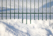 Metal Fence Frozen Snow Winter...