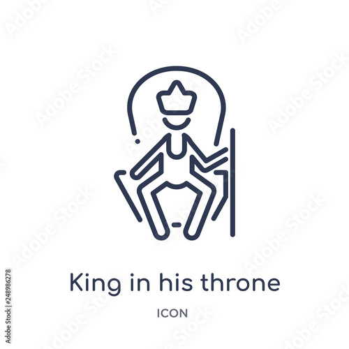 Photo  king in his throne icon from people outline collection