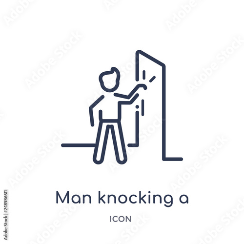 Leinwand Poster man knocking a door icon from people outline collection
