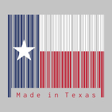 Barcode Set The Color Of Texas Flag, Blue Containing A Single Centered White Star. The Remaining Field Is Divided Horizontally Into A White And Red Bar.