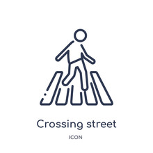 Crossing Street Icon From People Outline Collection. Thin Line Crossing Street Icon Isolated On White Background.