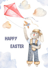 Watercolor Cartoon Cute Easter Bunny With A Kite. Illustration For Cards, Easter Design, Invitations, Posters.