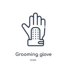 Grooming Glove Icon From Other Outline Collection. Thin Line Grooming Glove Icon Isolated On White Background.