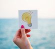Light bulb drawing on a memo paper