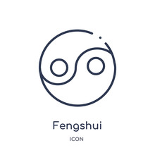 Fengshui Icon From Nature Outline Collection. Thin Line Fengshui Icon Isolated On White Background.