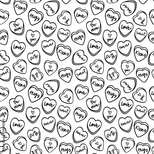 obraz dibond Valentines Day candy heart seamless pattern