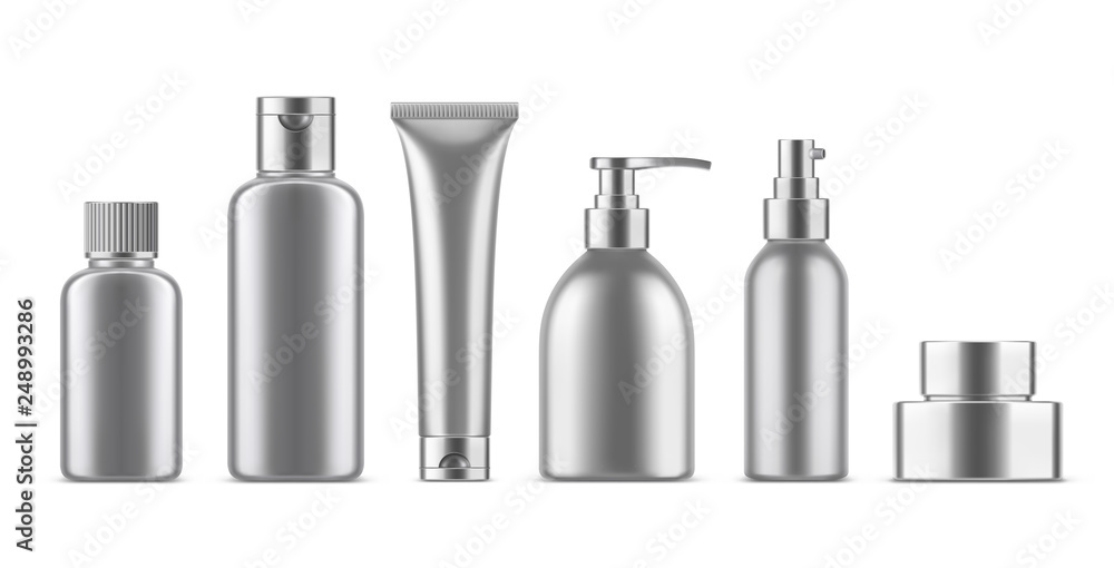 Fototapeta Realistic empty cosmetic bottles set. Collection of blank template metallic plastic package with silver cap. Bottle for liquid soap, shampoo, cream, tube, lotion. 3d Vector mockup isolated on white