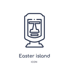 Easter Island Icon From Monuments Outline Collection. Thin Line Easter Island Icon Isolated On White Background.