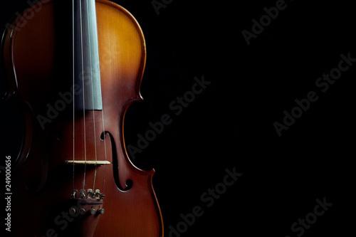 Close up violin on black background - 249000656