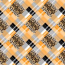 Scottish Tartan Grunge Seamless Pattern Leopard Spots. Tartan With Leopard Style. Eps 10.