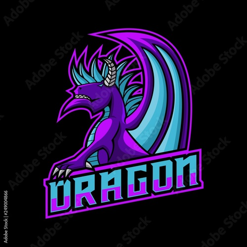 Fotografía dragon gaming logo vector illustration