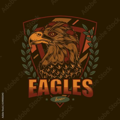 Fotografía  Vintage logo with American eagle for sports team.