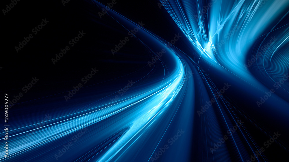 Fototapety, obrazy: Abstract blue on black background texture. Dynamic curves ands blurs pattern. Detailed fractal graphics. Science and technology concept.