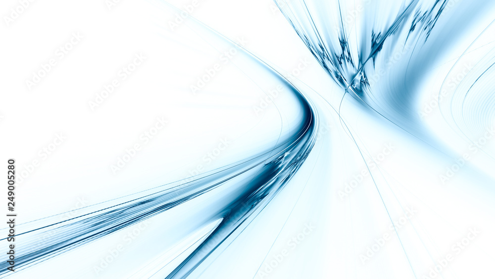 Fototapety, obrazy: Abstract blue on white background texture. Dynamic curves ands blurs pattern. Detailed fractal graphics. Science and technology concept.