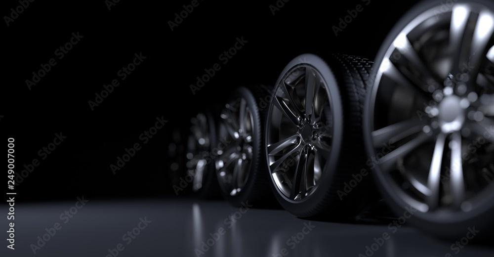 Fototapety, obrazy: Alloy wheels tire auto cast