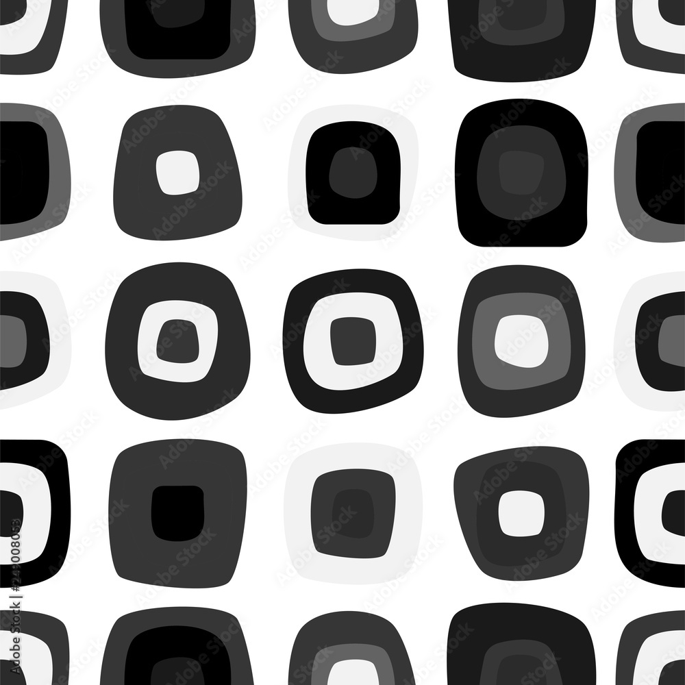 Fototapeta Funny monochrome seamless pattern with rounded rectangles