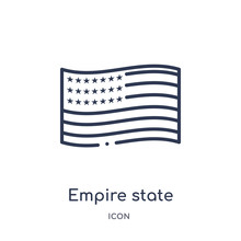 Empire State Icon From United States Of America Outline Collection. Thin Line Empire State Icon Isolated On White Background.