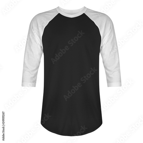 Blank t shirt raglan 3/4 sleeves front view with white black