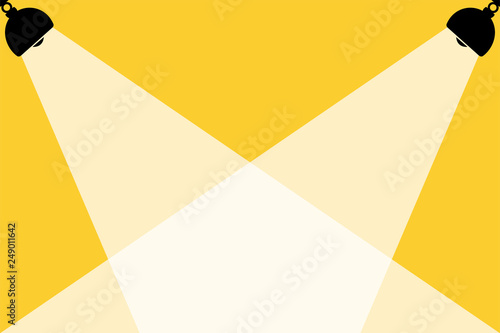 Silhouette of black lamps and White lights,yellow background,place for text