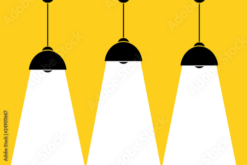 Recess Fitting Light, shadow Three lamp bulbs on yellow background,part of moderm interior