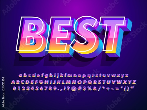 "Cuadros en Lienzo ""best"" modern and futuristic font with cool effect  compatible with illustrator"