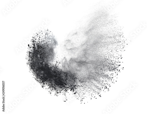 Fotografía Black powder or flour explosion isolated on white background  freeze stop motion