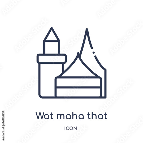 wat maha that icon from religion outline collection  Thin line wat