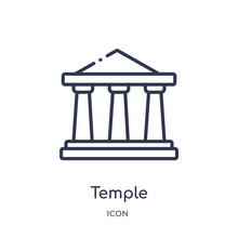 Temple Icon From Religion Outline Collection. Thin Line Temple Icon Isolated On White Background.