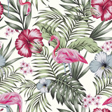 Pink flamingo jungle seamless white background - 249021480