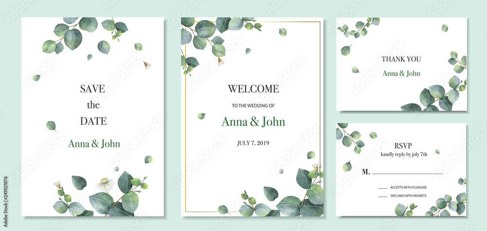 Fototapeta Watercolor vector set wedding invitation card template design with green eucalyptus leaves.