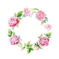 Panel Szklany Peonie Watercolor vector hand painting wreath of peony flowers and green leaves.