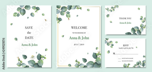 Photo Watercolor vector set wedding invitation card template design with green eucalyptus leaves