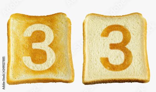トーストに白い数字の3と白いパンに数字の3の焼き目が入った2枚のパン Canvas Print