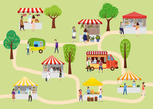Outdoor Street Food Festival With People Walking Between Vans Or Caterers, Canopy, Buying Meals, Eating And Drinking, Taking Selfie, Talking To Each Other. Template, Flyer, Baner, Invitation, Card