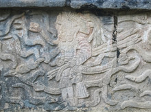Bas-relief Of Mayan Indians On The Stone.
